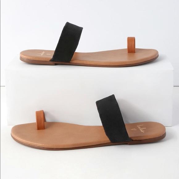 aaaaf46d4 Lulus Cognac Napa   Black Suede Flat Sandals NWT